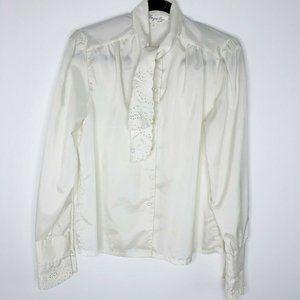 VTG Secretary cottage core Lace Bib cream blouse…